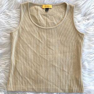 St. John Gold Metallic Ribbed Wool Shell Tank Top